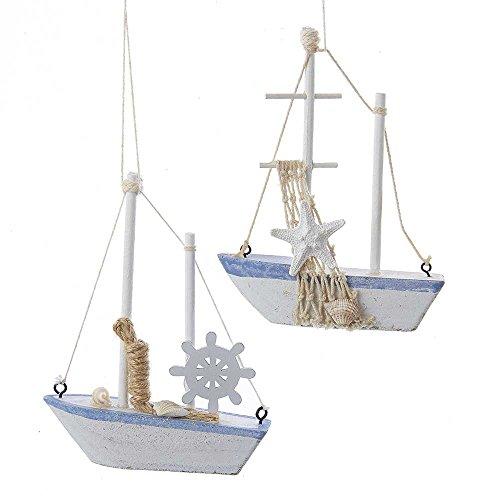 Kurt Adler 5.5-Inch Solid Wood Sailboat Ornament Set of 2