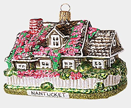 Nantucket House Polish Glass Christmas Tree Ornament Massachusetts MA USA