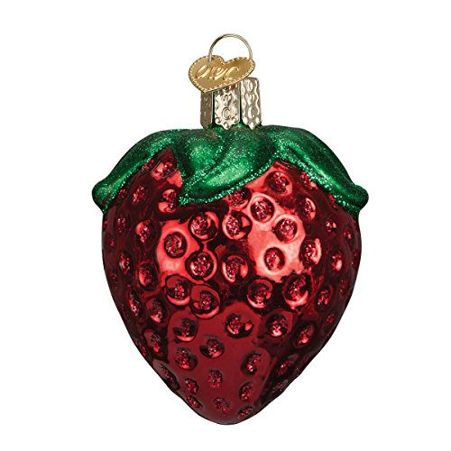 Old World Christmas Glass Blown Ornament with S-Hook and Gift Box, Fruit Collection (Summer Strawberry)