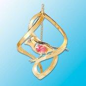 24K Gold Cardinal Spiral Ornament – Red Swarovski Crystal