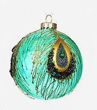 4″ Peacock Glass Ball Ornament by One Hundred 80 Degrees (green)