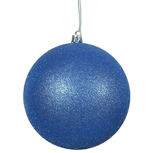 Vickerman N590802DG Glitter Ball Ornaments with Shatterproof UV Resistant, Pre-drilled cap Secured & 6″ of Green Floral Wire in 12 Per Bag, 3″, Blue