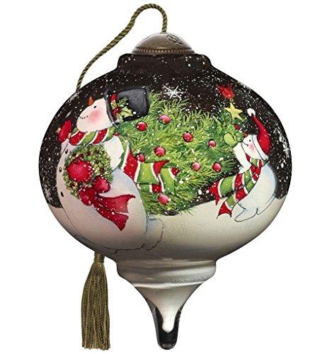 Ne'Qwa Art Hand Painted Blown Glass Tis the Season Ornament