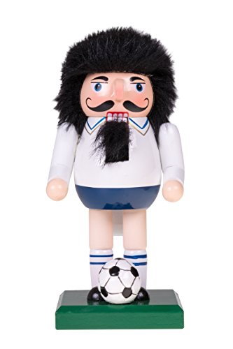 Soccer Player Nutcracker | Traditional Christmas Decor | Soccer Ball | Black Hair, White Shirt and Blue Shorts | Perfect for Any Collection | Perfect for Shelves and Tables | 100% Wood | 7″ Tall