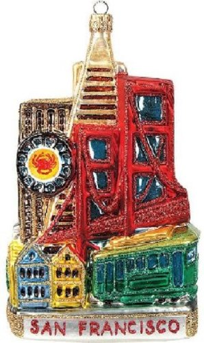 San Francisco California Skyline Landscape Polish Glass Christmas Ornament