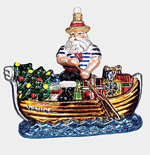 Venice Italy Gondolier Santa Polish Blown Glass Christmas Gondola Ornament New