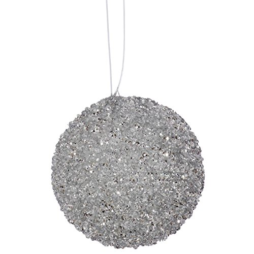 Vickerman 4ct Silver Sleigh Ride Sequin and Glitter Drenched Christmas Ball Ornaments 4″ (100mm)