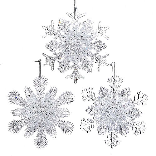 Kurt Adler 4.5-Inch Plastic Snowflake Ornament Set of 3