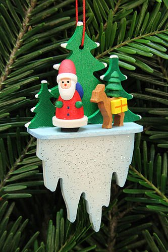 Tree Ornament – Santa Claus with Bambi on Icicle – 5,5×8,8 cm / 2.2×3.4 inch