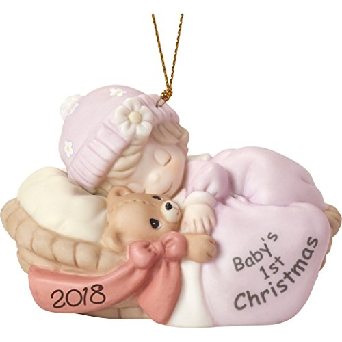 Precious Moments Baby's First Christmas 2018″ Girl Ornament