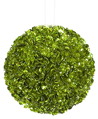 Vickerman Lavish Lime Green Fully Sequined and Beaded Christmas Ball Ornament, 4.25″