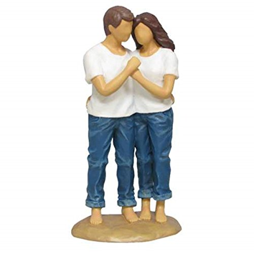 WL SS-WL-18421 Man & Woman Blue Jeans In Sweet Embrace Resin Figurine, 7.25″
