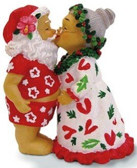 Hawaiian Christmas Ornament Kissing Santas