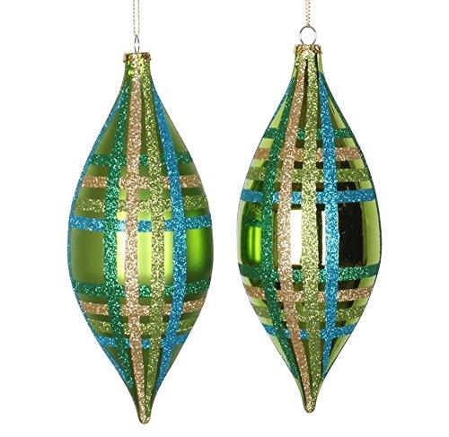 Vickerman 4ct Lime Green w/Blue, Green & Gold Glitter Plaid Shatterproof Christmas Finial Drop Ornaments 7″