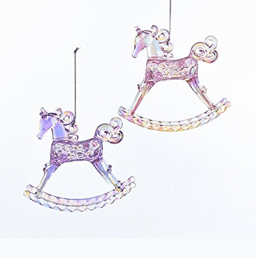 Kurt Adler Sugar Plum Acrylic Rocking Horse Ornament – 2 Assorted, Pink and Lavender
