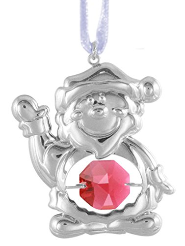 Chrome Plated Santa Claus Ornament with Red Swarovski Crystal Element