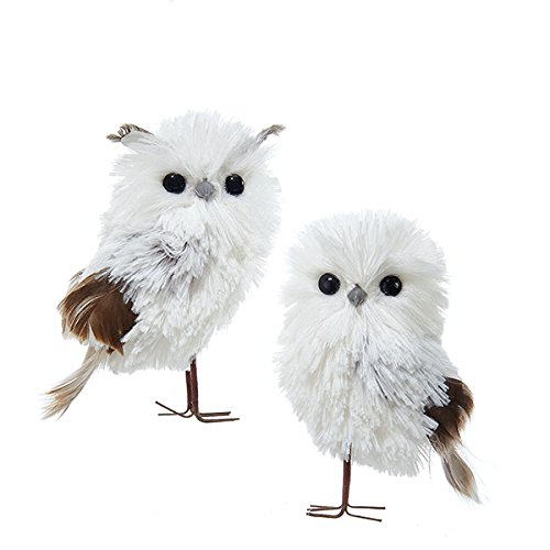 Kurt Adler 5 1″ Silv/wht/gray Hangng Owl Ornament 2P