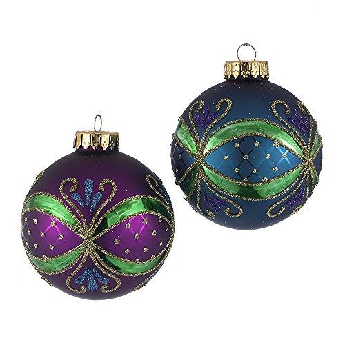 Kurt Adler 65mm Peacock-Colored Ornate Design Glass Ball Ornaments, 4-Piece Box Set