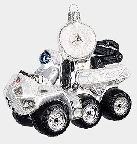 Astronaut Driving Moon Rover Vehicle Polish Glass Christmas Tree Ornament Space