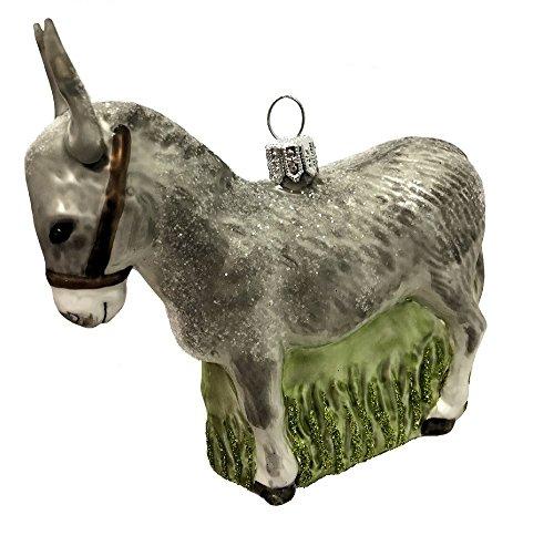 Pinnacle Peak Trading Company Grey Donkey Burro Polish Glass Christmas Tree Ornament Animal Wildlife Poland