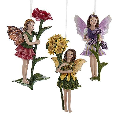 Kurt Adler 5.5″ Resin Spring Garden Fairy Ornament Set of 3