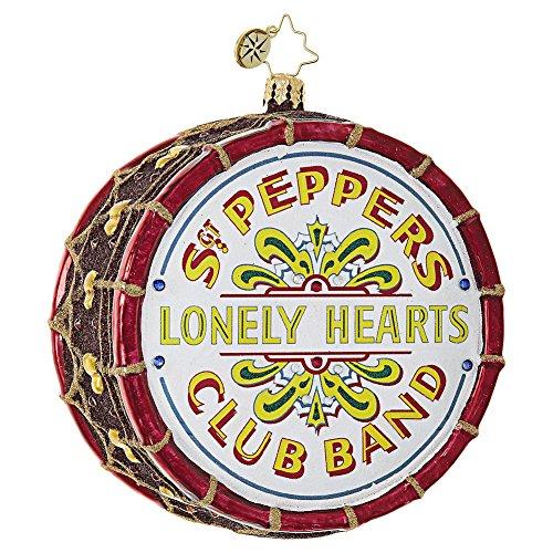 Christopher Radko Beatles Large Sgt. Pepper's Drum Christmas Ornament