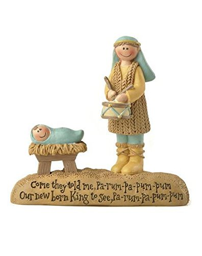 Blossom Bucket – Drummer Boy and Jesus on Base #158-10212