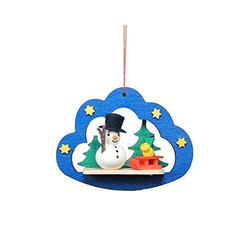 "10-0854 – Christian Ulbricht Ornament – Snowman in Blue Cloud – 2.25″""H x 3″""W x 1″""D"