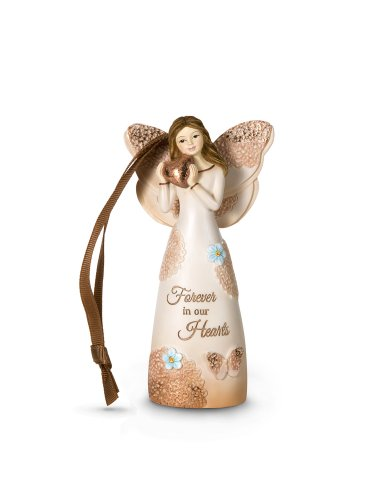 Pavilion Gift Company 19062 Light Your Way Memorial Forever in Our Hearts Angel Figurine, 4-1/2-Inch