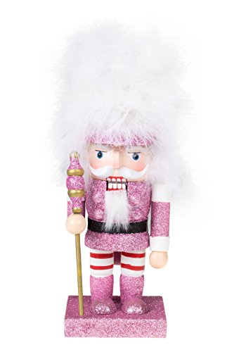 "Soldier Nutcracker by Clever Creations | Pink Glitter Nutcracker with Tall White Hair | Perfect for Shelves and Tables | Collectible Festive Christmas Decor | 100% Real Wood | 10"" Tall"