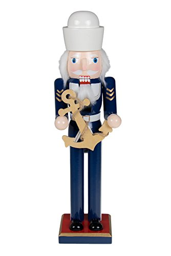 Traditional Wooden Sailor Nutcracker Decoration by Clever Creations | Blue and White Uniform | Carrying Ship's Anchor | Premium Festive Christmas Decor | 15″ Tall Perfect for Shelves & Tables
