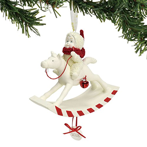 "Department 56 Snowbabies ""Peppermint Pony, 2018"" Porcelain Hanging Ornament, 3.625"""