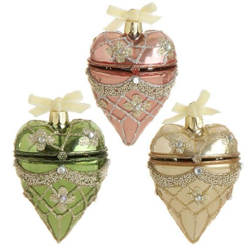 RAZ Imports – GEM HEART ORNAMENTS – (SET OF 3)