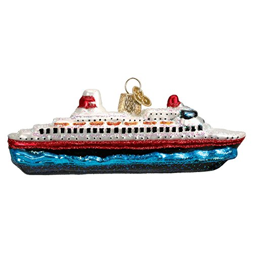 Old World Christmas Glass Blown Ornament with S-Hook and Gift Box, Auto Collection (Cruise Ship)