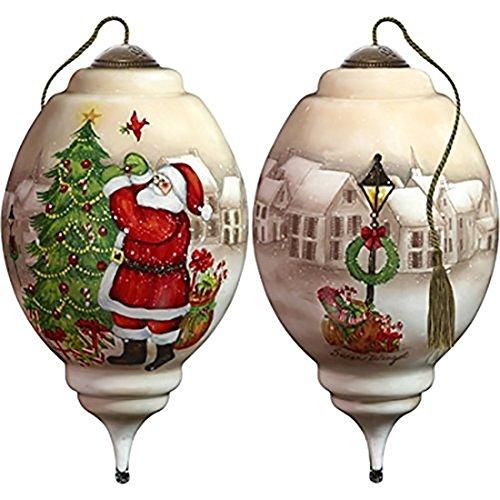 Ne'Qwa Art Hand Painted Blown Glass I'Ll Be Home for Christmas Santa Ornament