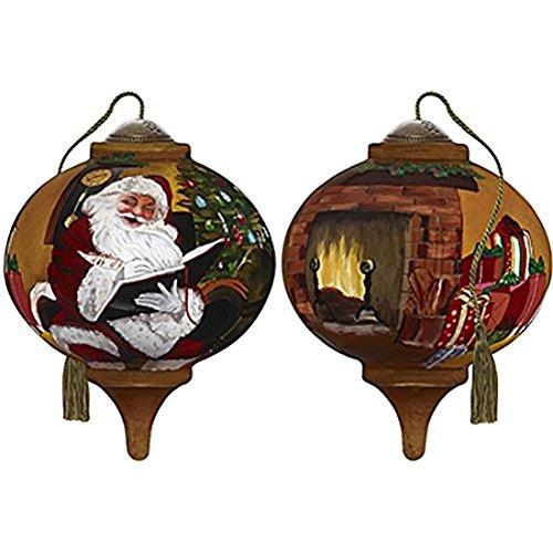 Ne'Qwa Art Hand Painted Blown Glass Santa's Notes Ornament