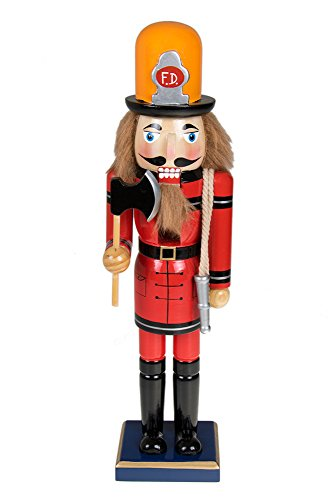 Traditional Fireman Wooden Nutcracker Decoration by Clever Creations | Red & Black Fire Fighter with Axe & Hose | Premium Festive Christmas Decor | 15″ Tall Perfect for Shelves and Tables