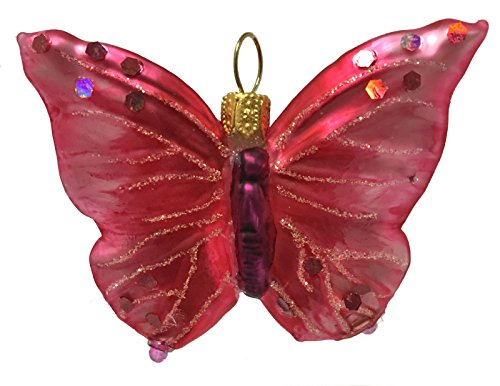 Red Butterfly Polish Glass Christmas Tree Ornament Decoration Made in Poland