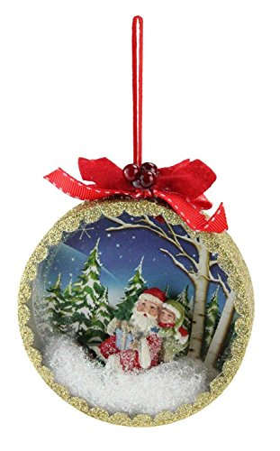 Raz 5″ Santa Claus Classics Sled Winter Scene Shadow Box Christmas Tree Ornament