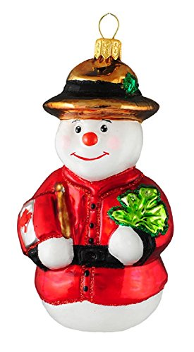 Royal Mountie Canadian Snowman Polish Glass Christmas Ornament Canada Decoration