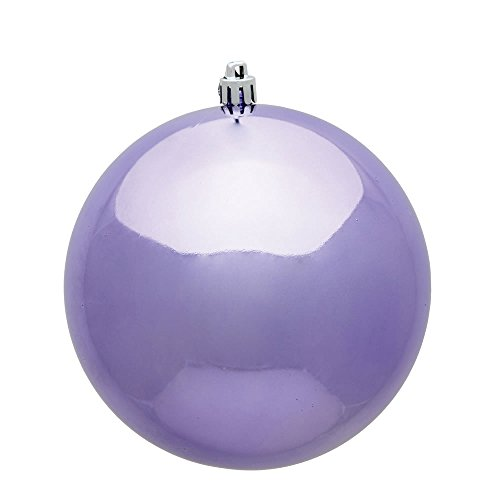 Vickerman 4.75″ Lavender Shiny UV Treated Ball Christmas Ornament with Drilled and Wired Cap, 4 per Bag