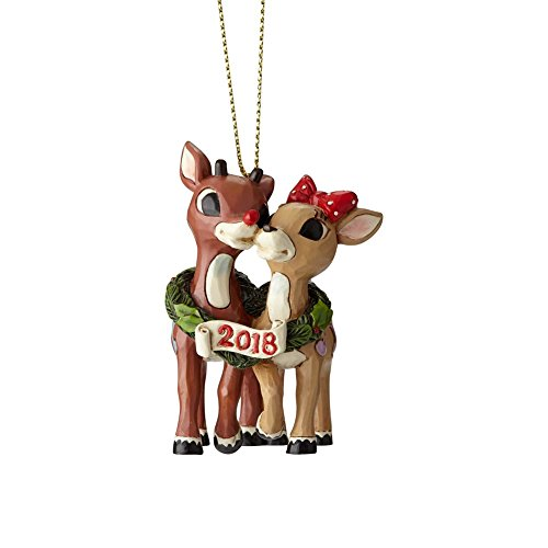 Enesco Jim Shore Rudolph Traditions 6001596 Rudolph and Clarice 2018 Dated Hanging Ornament