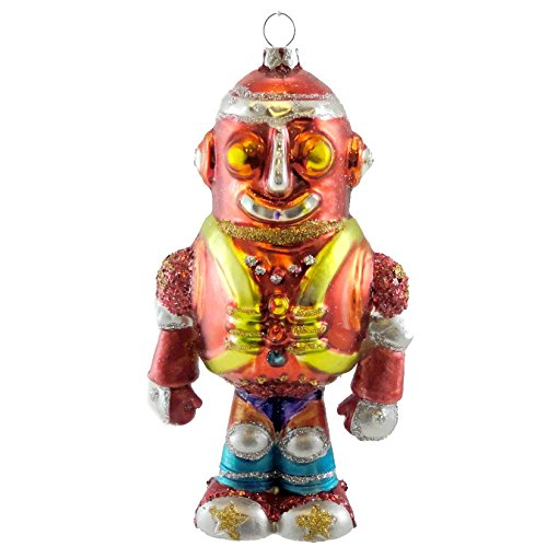 Holiday Ornament SPACE PEOPLE ORNAMENT Blown Glass Christmas Robot TT0190 RED