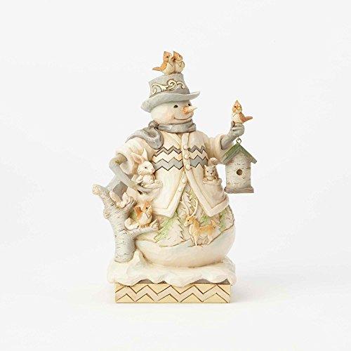 Enesco Jim Shore Heartwood Creek White Woodland Snowman with Bird House Figurine, 8.75″