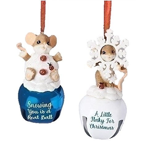 Charming Tails Snowball and Snowflake MiceAssortment of 2 Mice on Bells –