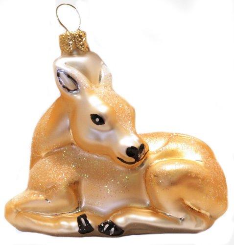 Wildlife Snow Deer Polish Glass Christmas Ornament Made in Poland Decoration