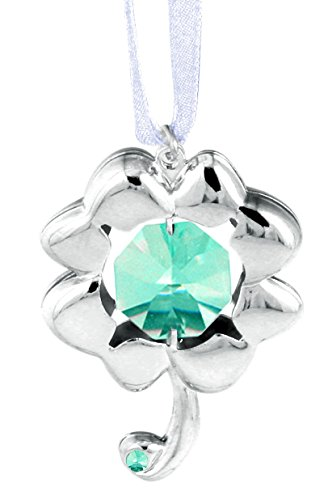 Chrome Plated 4 Leaf Clover Ornament with Green Swarovski Crystal Element