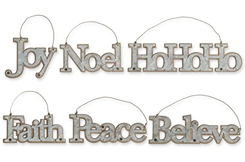 Galvanized Tin Message Christmas Ornaments, Set of 6, Faith, Joy, Believe, Noel, Peace, HoHoHo