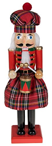 Traditional Scottish Wooden Nutcracker Decoration by Clever Creations | Red and Green Plaid Nutcracker with Drum | Premium Festive Christmas Decor | 15″ Tall Perfect for Shelves & Table