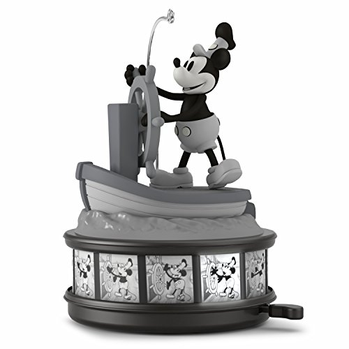 Hallmark Keepsake Christmas Ornament 2018 Year Dated, Disney Mickey Mouse Steamboat Willie 90th Anniversary With Music, Light and Motion